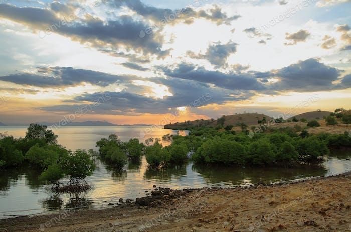 Sunset panorama on tropical Seraya Island, Indonesia