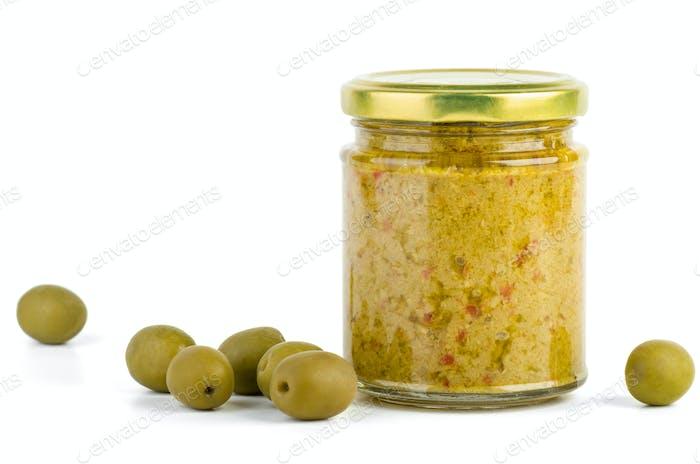 Glass jar with olive spread