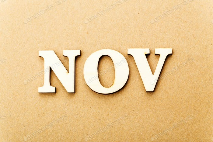 Wooden text for November