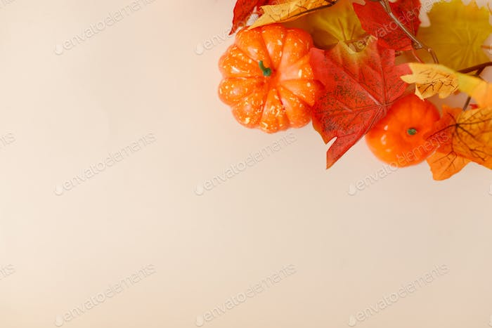Festive autumn decor with pumpkins and leaves on a beige background.