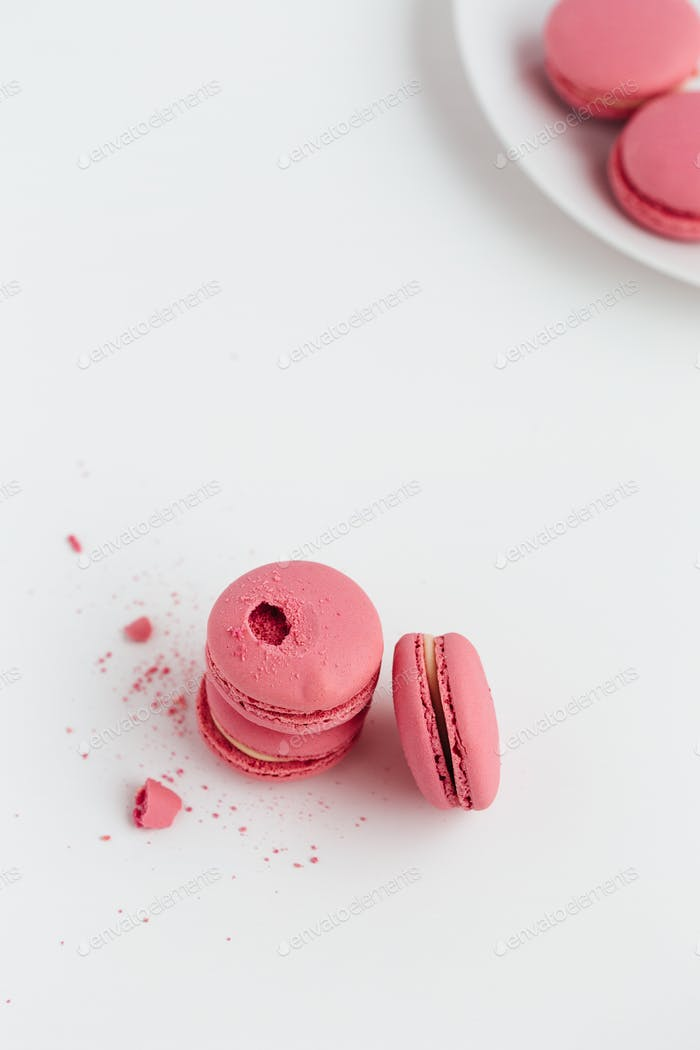 Pink Macarons on White Table