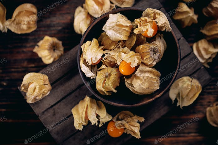 Yellow cape gooseberry fruit