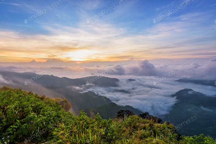 Sunrise on Phu Chi Fa Forest Park, Thailand