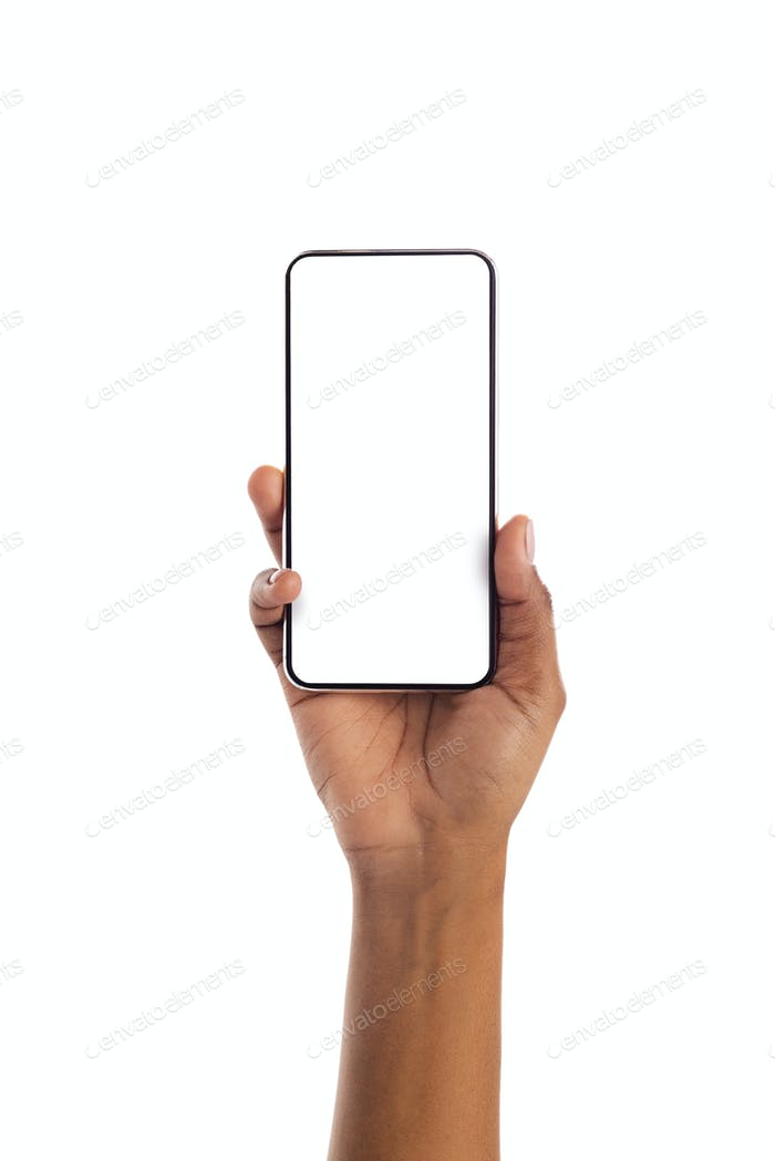 Black female hand holding smartphone with blank screen