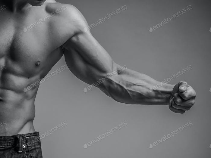 Muscular arm and torso