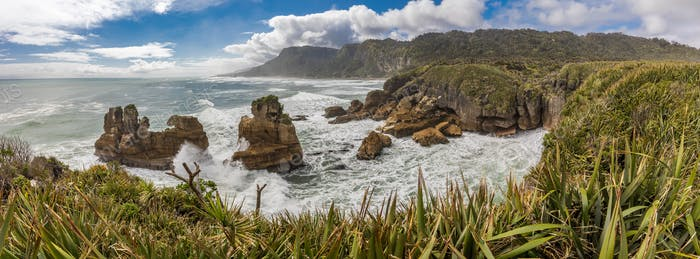 Punakaiki Pancake Rocks with blowholes in the Paparoa National P