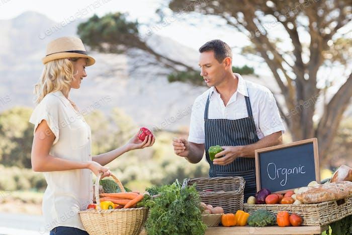 Landwirt diskutiert mit einem Kunden auf dem lokalen Markt