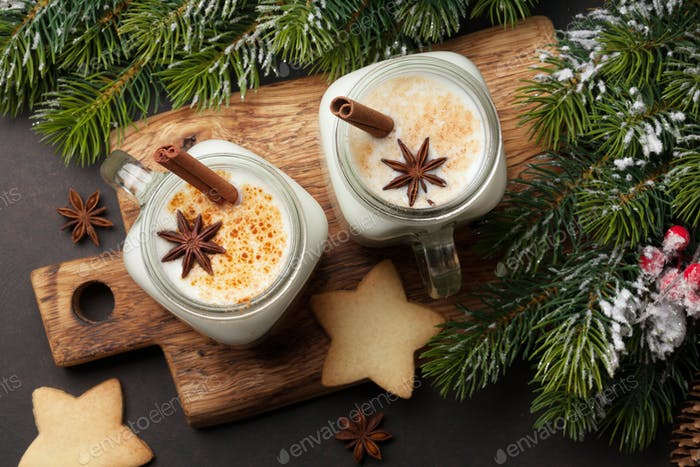 Eggnog. Traditional christmas cocktail
