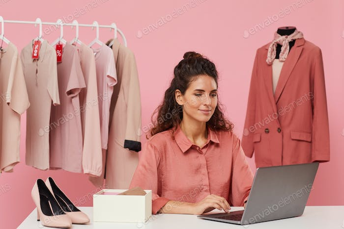 Woman buying clothes online