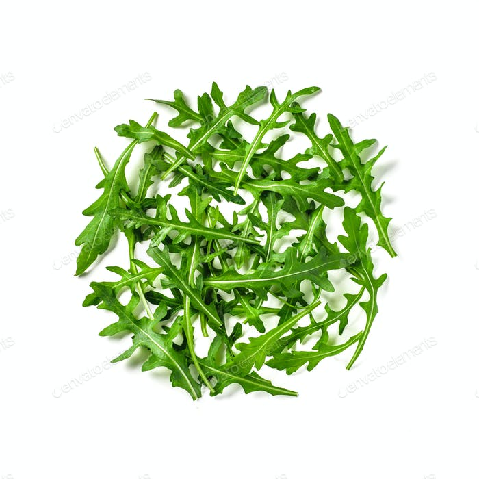 Heap of arugula leaves isolated