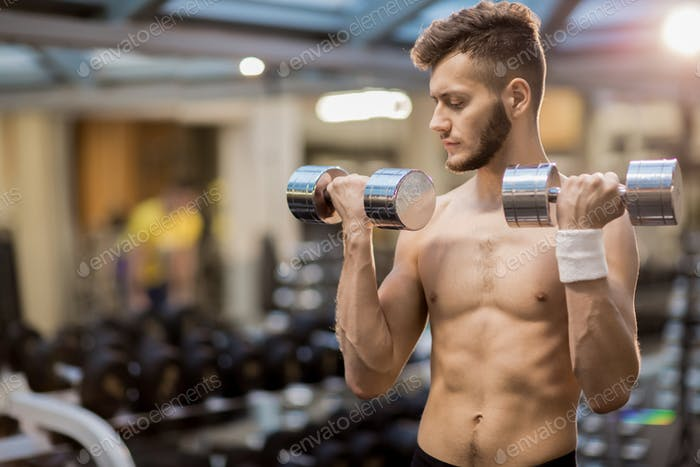Guy with barbells