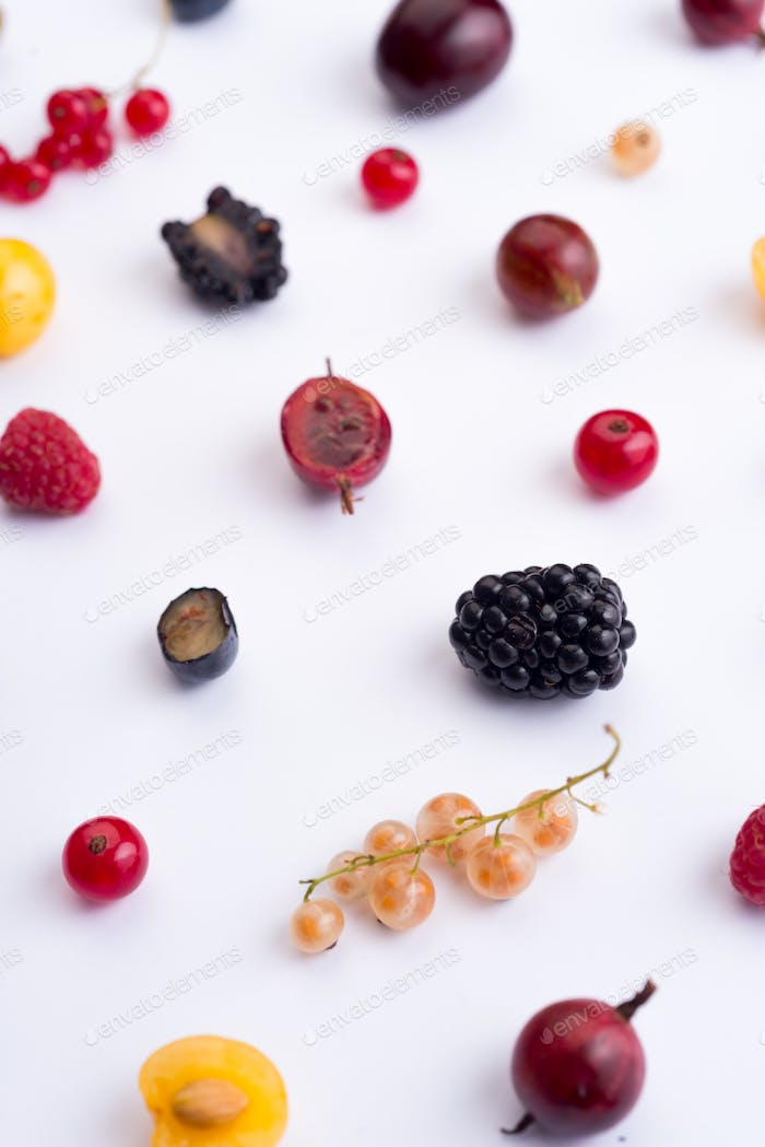 Berries isolated over white background table.