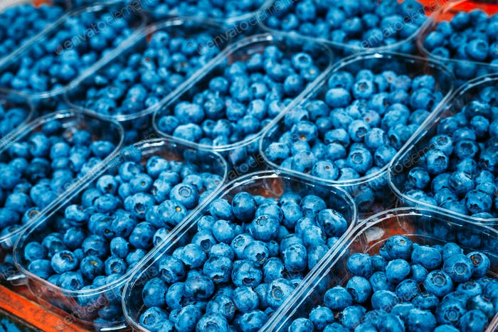 Fresh Blue Berries Blueberries Blueberry At Market In Trays, Con