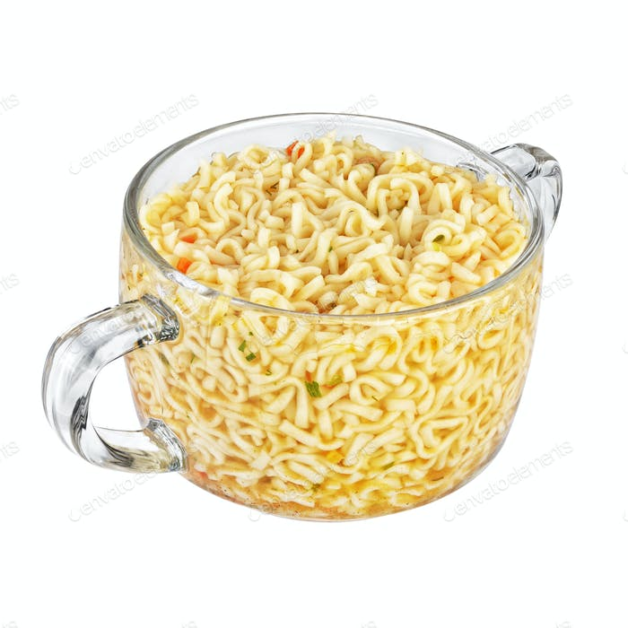 Instant noodles bowl isolated on white background