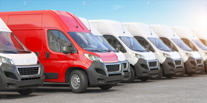Red delivery van in a row of white vans. Best express delivery and shipemt service concept.