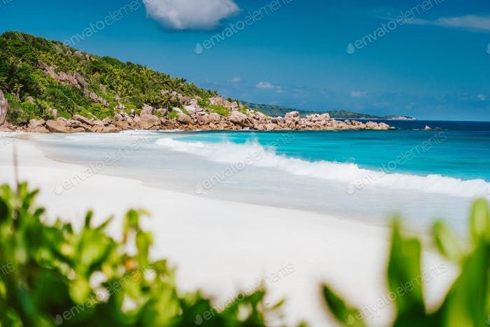 Petite Anse, La Digue in Seychelles - Tropical and paradise beach vacation. Travel background