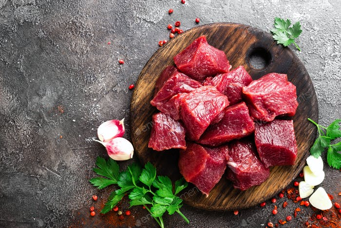 Raw beef meat. Fresh sliced beef sirloin