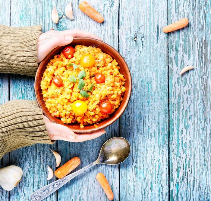 Lentils vegetarian food