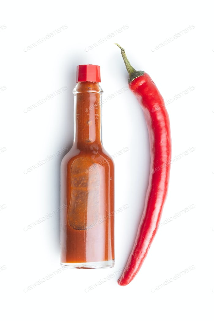 Red chili pepper and tabasco sauce.