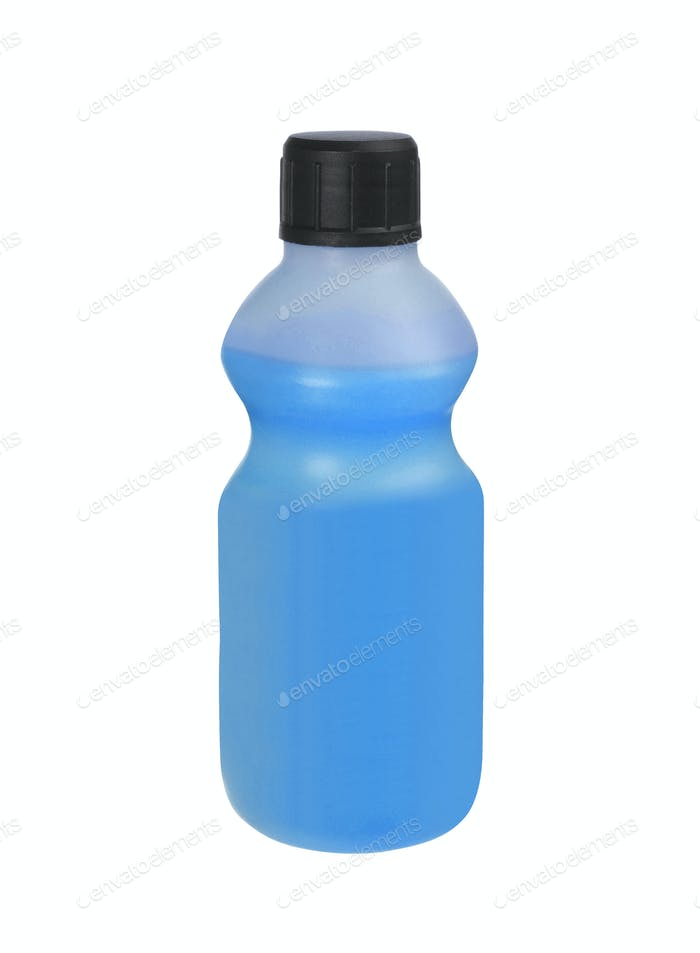 plastic bottles of cleaning products, isolated on white