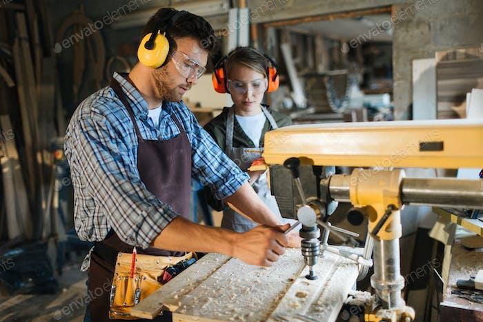 Working by drill machine
