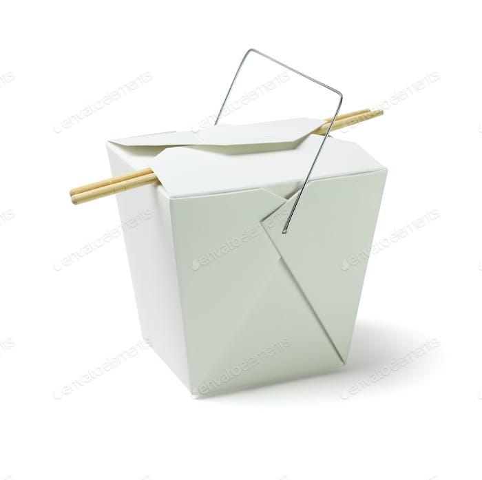 Lebensmittelbehälter zum Mitnehmen mit Stäbchen