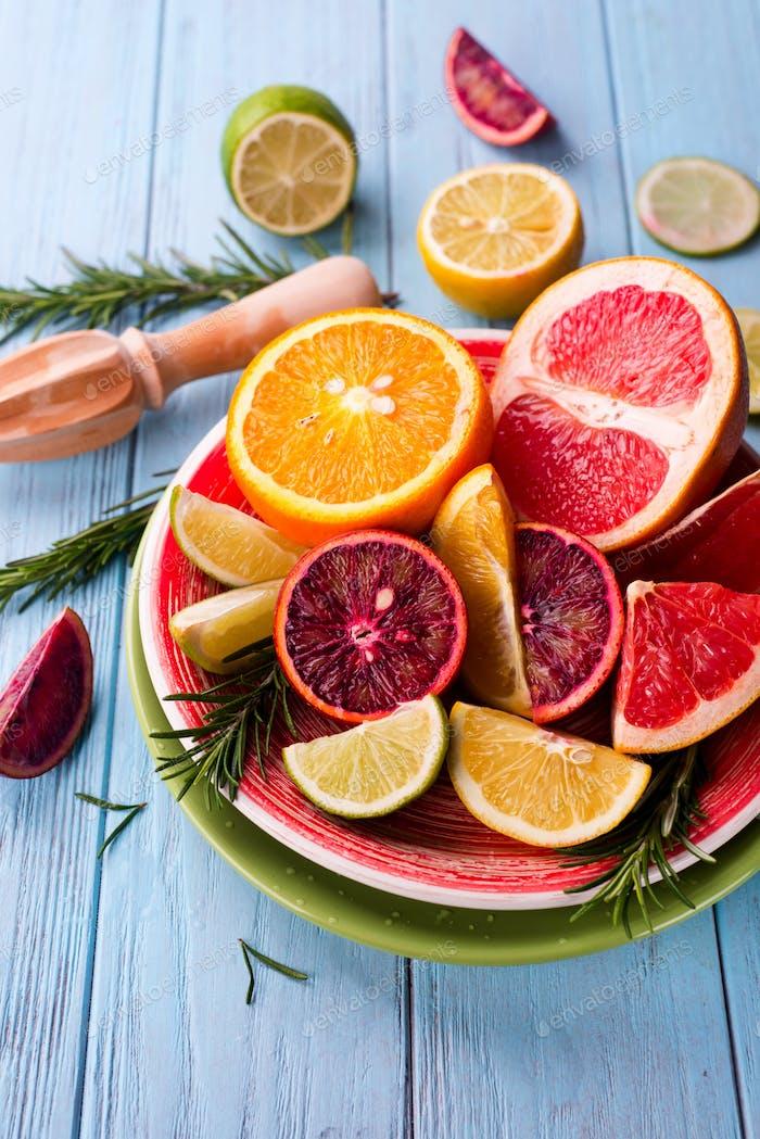 Sliced citrus fruit on the plate