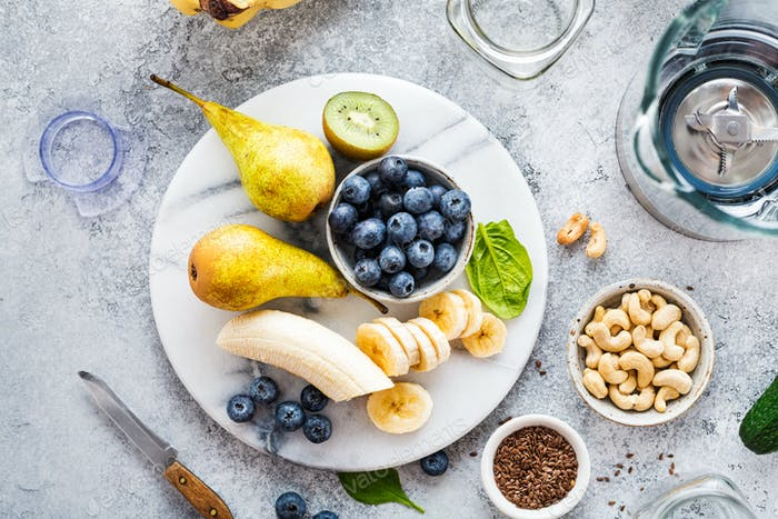 Fresh fruit and blueberries for making smoothies