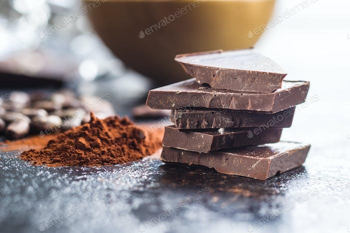 Dark cocoa powder and chocolate.