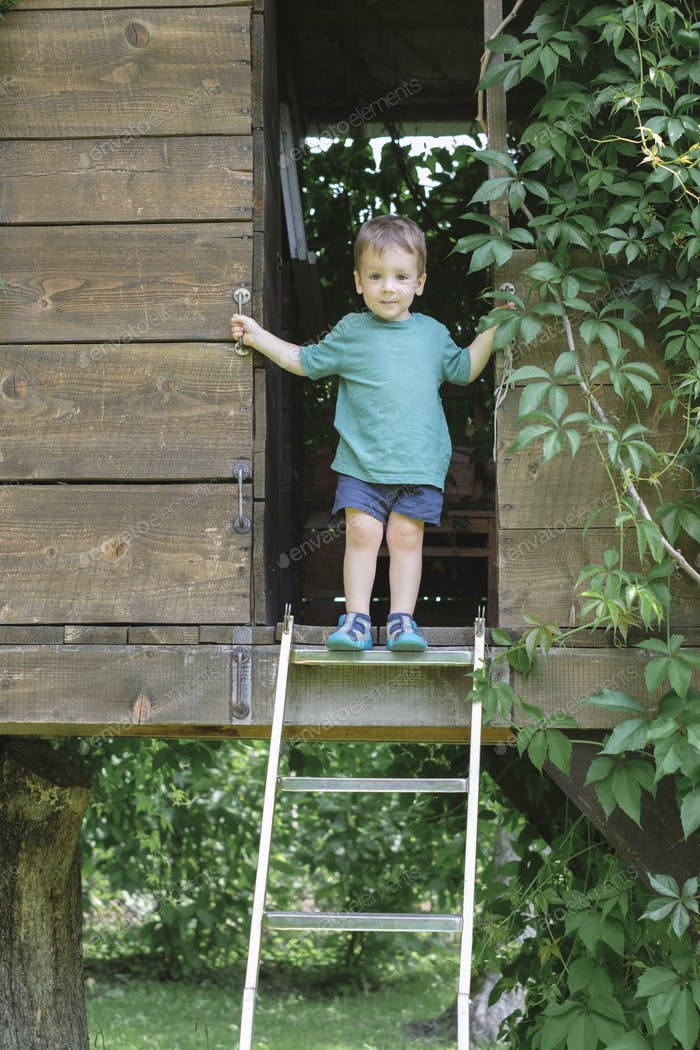 Small boy climb the stairs on treehouse