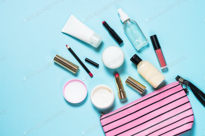 Make up bag with cosmetic beauty products