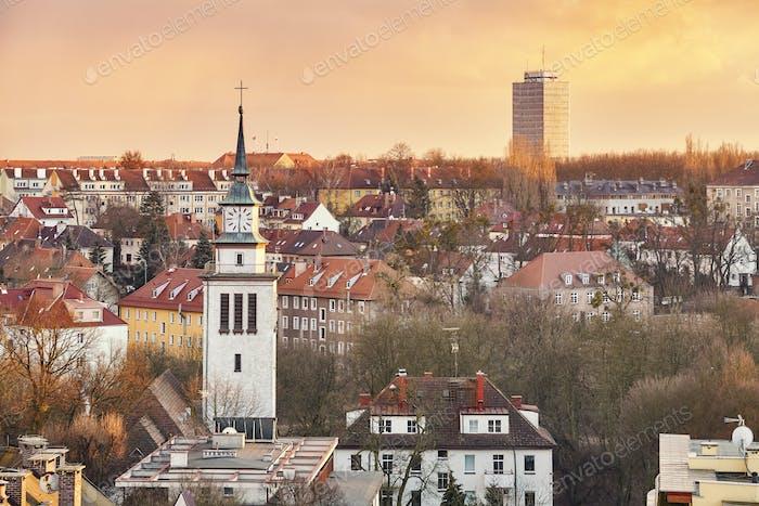Purple sunset over Szczecin City, Poland