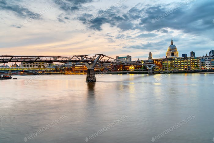 The Millennium Bridge and St. Paul's cathedral in London