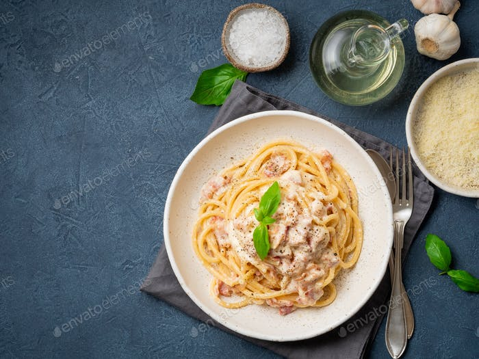 Carbonara pasta. Spaghetti with pancetta, egg, parmesan cheese