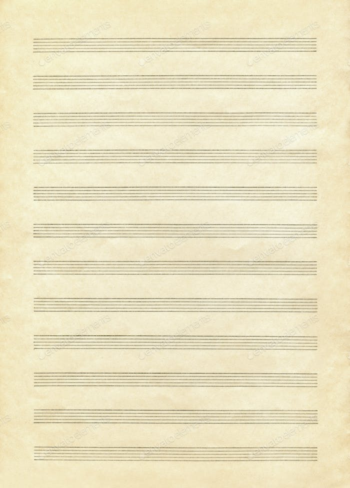 Vintage blank paper sheet for musical notes