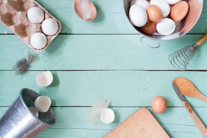Kitchen Background with Ingredients
