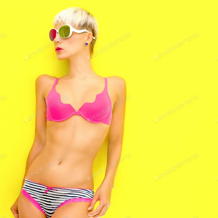 portrait of a girl in a bright trendy underwear