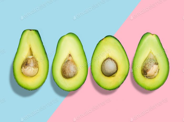 Creative avocado background,flat lay