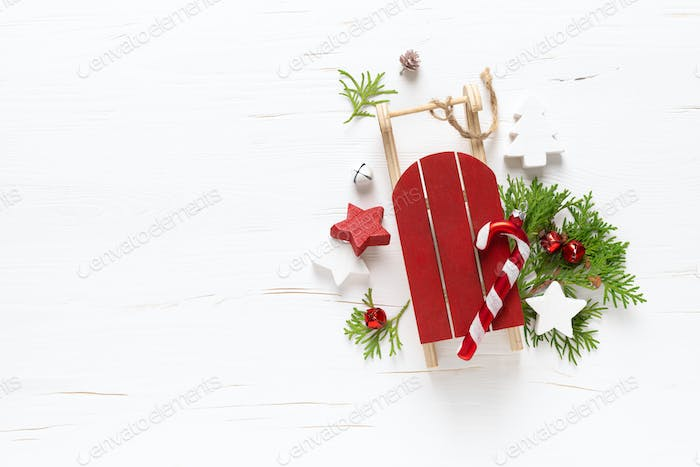 Christmas, New Year or Noel holiday festive winter greeting card with decorations, x-mas ornaments