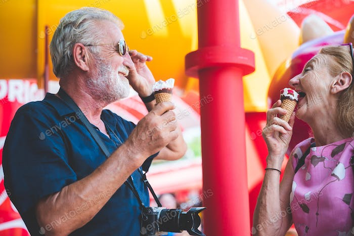 Grandfather and grandmother having fun and spending good quality time