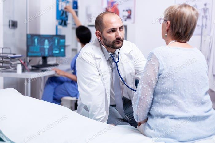 Medical consultation for senior pensioner