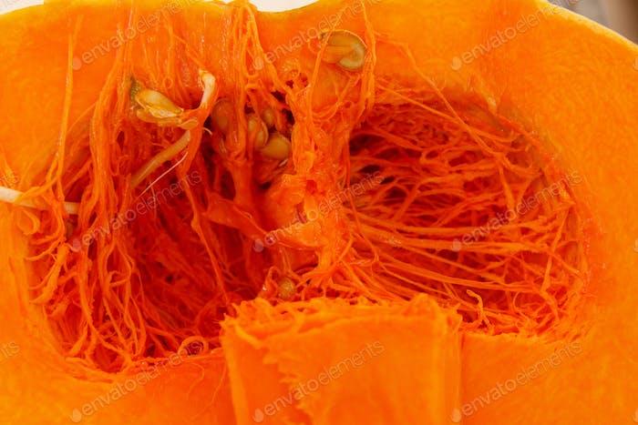 Opened pumpkin on a farmers market