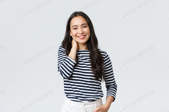 Lifestyle, people emotions and casual concept. Joyful beautiful asian woman in stylish casual