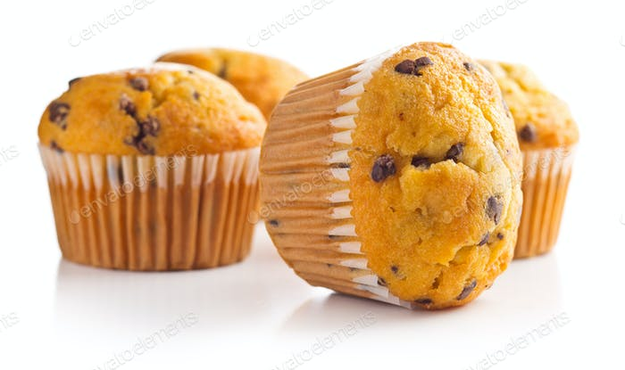The tasty muffins with chocolate.