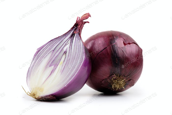 Ripe red onion on a white background