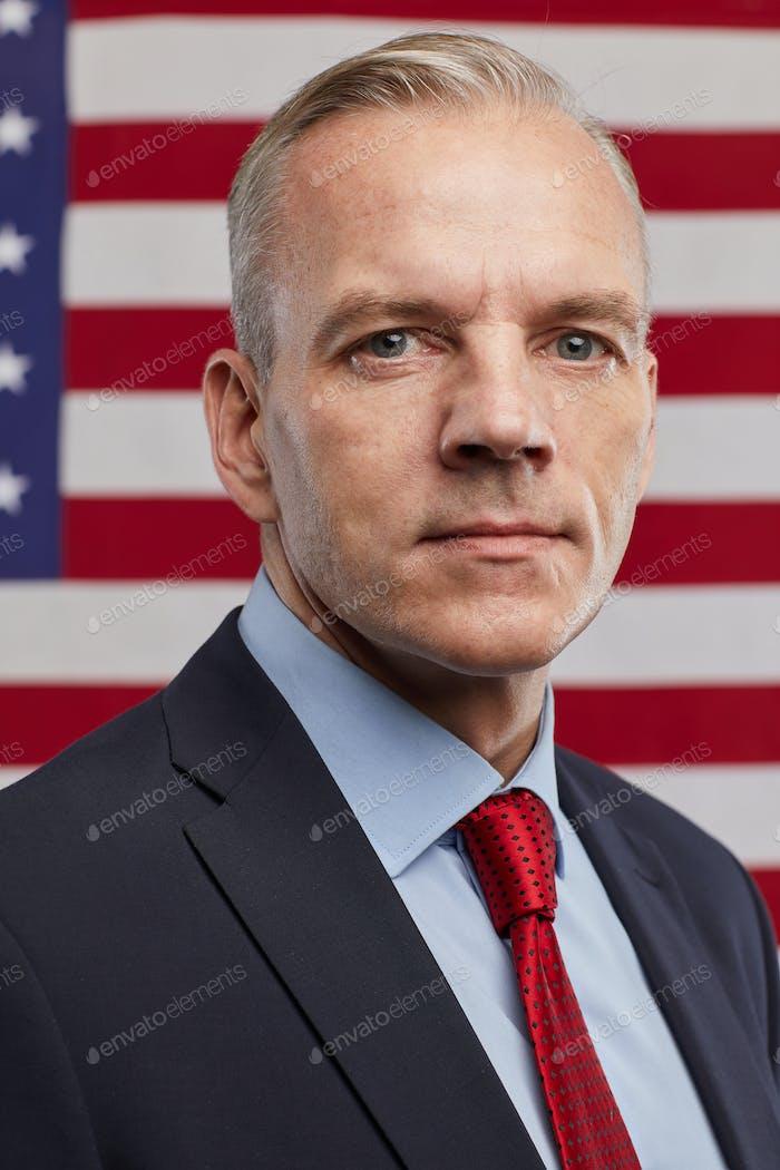 Successful Mature Man against American Flag