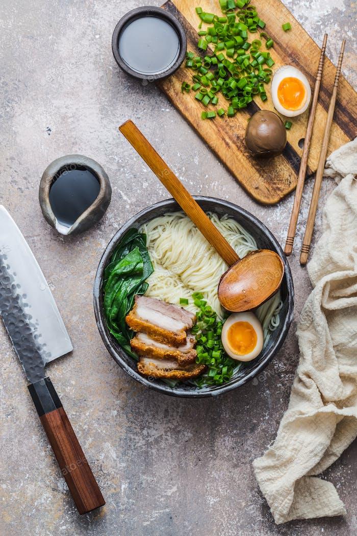 Ramen bowl with ingredients top view