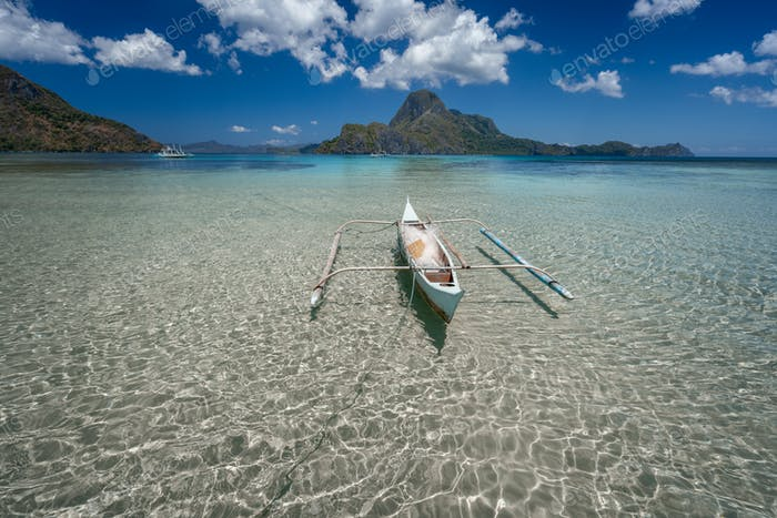 Crystal clear shallow water, low tide, exotic paradise islands, amazing nature of Palawan