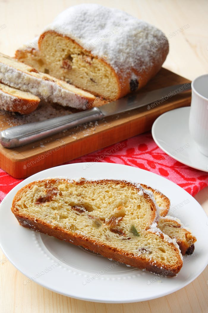 Sliced stollen, a traditional German fruit cake