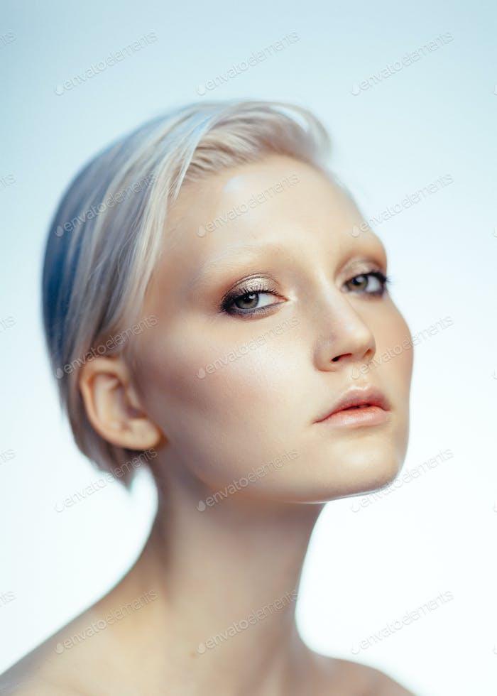 beauty portrait of young caucasian blonde woman